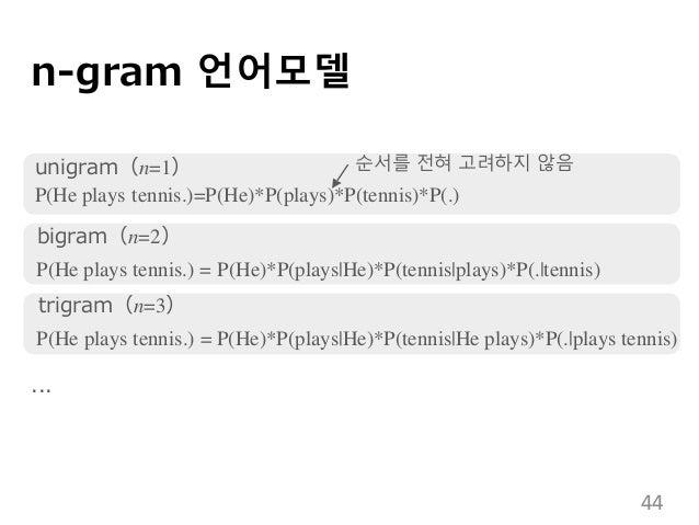 n-gram 언어모델 unigram(n=1) P(He plays tennis.)=P(He)*P(plays)*P(tennis)*P(.) bigram(n=2) P(He plays tennis.) = P(He)*P(plays...