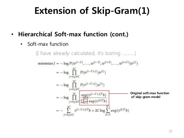 • Hierarchical Soft-max function (cont.) • Soft-max function (I have already calculated, it's boring …….…) Extension of Sk...