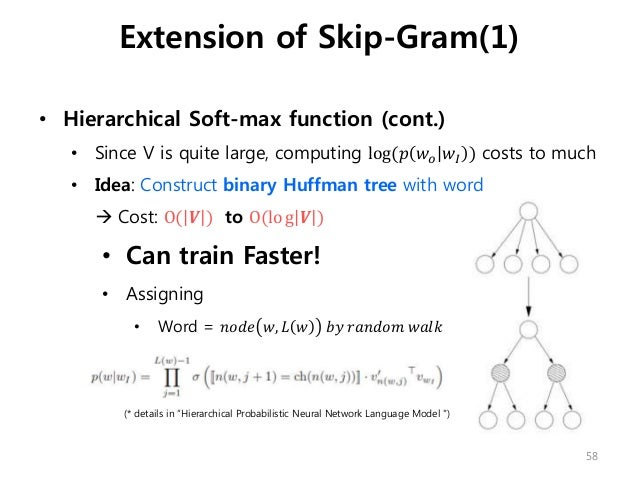 • Hierarchical Soft-max function (cont.) • Since V is quite large, computing log(𝑝 𝑤𝑜 𝑤𝐼 ) costs to much • Idea: Construct...