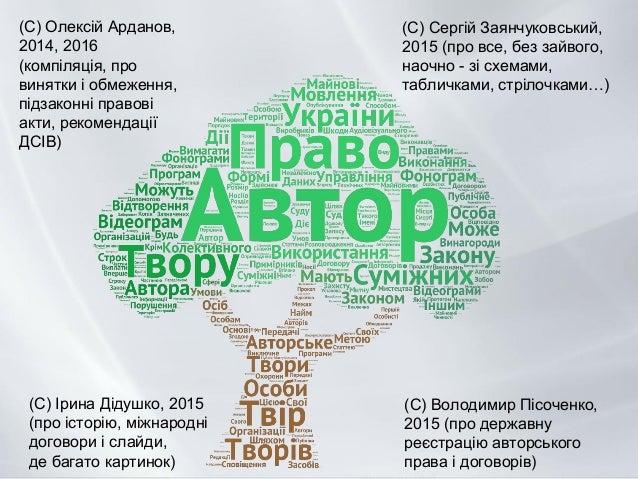 (С) Олексій Арданов, 2014, 2016 (компіляція, про винятки і обмеження, підзаконні правові акти, рекомендації ДСІВ) (С) Воло...