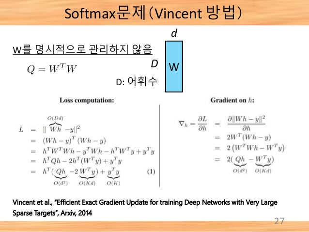 """Softmax문제(Vincent 방법) 27 Vincent et al., """"Efficient Exact Gradient Update for training Deep Networks with Very Large Spars..."""