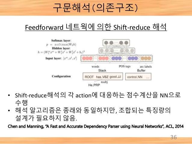 """구문해석(의존구조) 36 Chen and Manning, """"A Fast and Accurate Dependency Parser using Neural Networks"""", ACL, 2014 Feedforward 네트웍에 ..."""