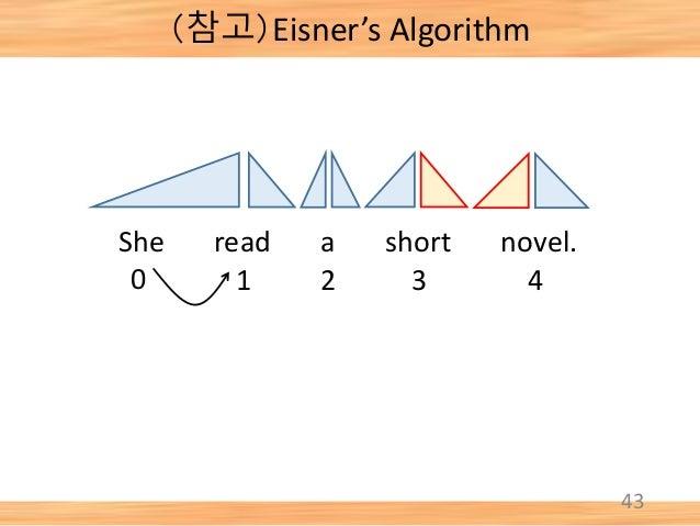 43 She read a short novel. 0 1 2 3 4 (참고)Eisner's Algorithm