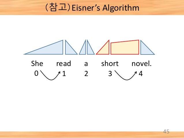 45 She read a short novel. 0 1 2 3 4 (참고)Eisner's Algorithm