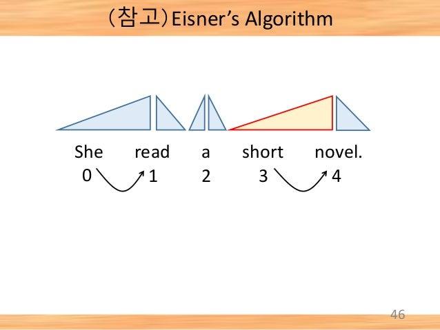 46 She read a short novel. 0 1 2 3 4 (참고)Eisner's Algorithm