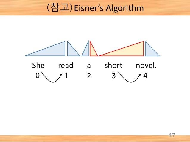 47 She read a short novel. 0 1 2 3 4 (참고)Eisner's Algorithm