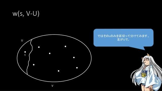 w(s, V-U) ではそのsのみを区切って分けてみます。 左がUで、U s V