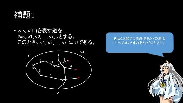 補題1 新しく追加する頂点(赤色)への道は すべてUに含まれるということです。 • w(s, V-U)を表す道を P=s, v1, v2, …, vk, zとする。 このときs, v1, v2, …, vk ∈ Uである。 U s V V-U ...