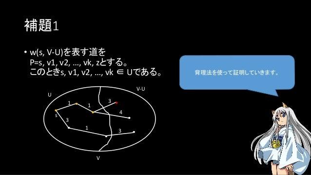 補題1 背理法を使って証明していきます。 • w(s, V-U)を表す道を P=s, v1, v2, …, vk, zとする。 このときs, v1, v2, …, vk ∈ Uである。 U s V V-U 1 3 1 3 4 1 3