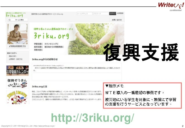 confidential 2Copyright(C) 2011 WriteUp! Co.,Ltd.(http://www.writeup.co.jp) http://3riku.org/ 復興支援 対