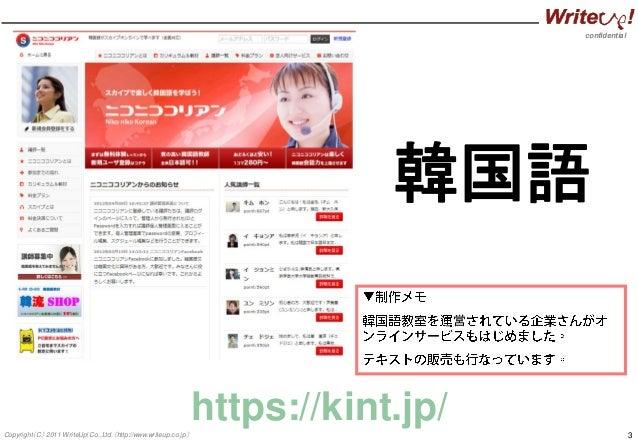 confidential 3Copyright(C) 2011 WriteUp! Co.,Ltd.(http://www.writeup.co.jp) 韓国語 営 https://kint.jp/