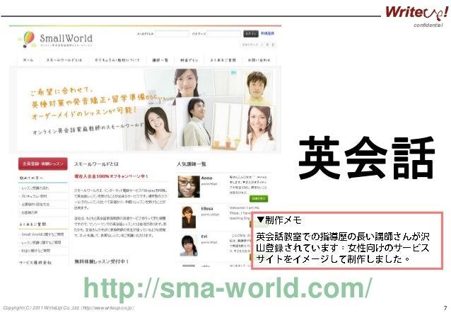 confidential 7Copyright(C) 2011 WriteUp! Co.,Ltd.(http://www.writeup.co.jp) http://sma-world.com/ 英会話 録