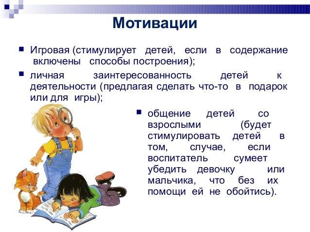 Мотивации  Игровая (стимулирует детей, если в содержание включены способы построения);  личная заинтересованность детей ...