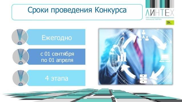 Ежегодно с 01 сентября по 01 апреля 4 этапа Сроки проведения Конкурса