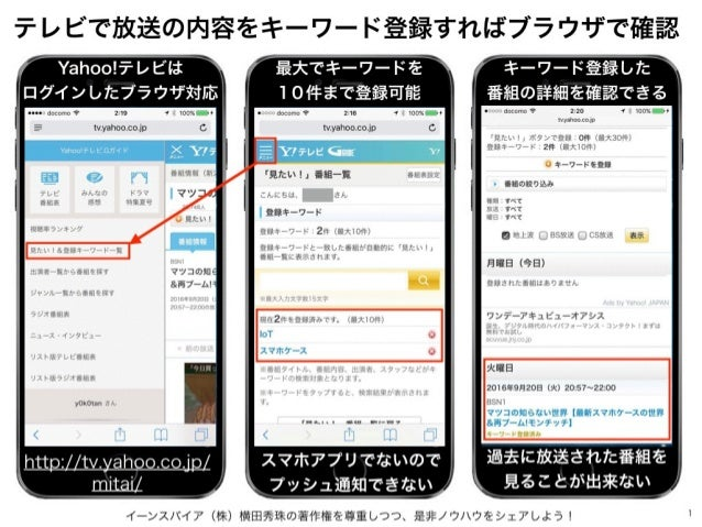 イーンスパイア(株)横田秀珠の著作権を尊重しつつ、是非ノウハウをシェアしよう! 1 テレビで放送の内容をキーワード登録すればブラウザで確認 http://tv.yahoo.co.jp/ mitai/ Yahoo!テレビは ログインしたブラウザ対...