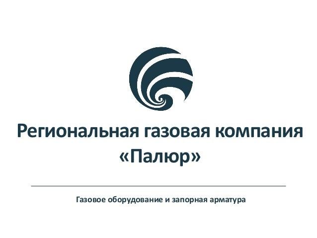 Региональная газовая компания «Палюр» Газовое оборудование и запорная арматура