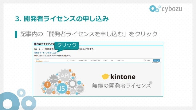 3. 開発者ライセンスの申し込み ▌ 記事内の「開発者ライセンスを申し込む」をクリック クリック クリック