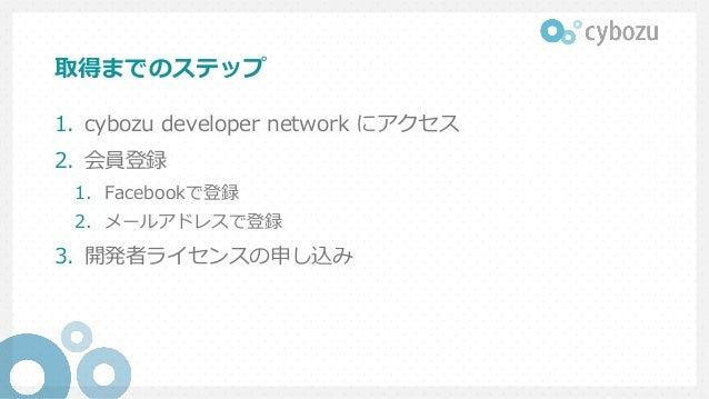 取得までのステップ 1. cybozu developer network にアクセス 2. 会員登録 1. Facebookで登録 2. メールアドレスで登録 3. 開発者ライセンスの申し込み