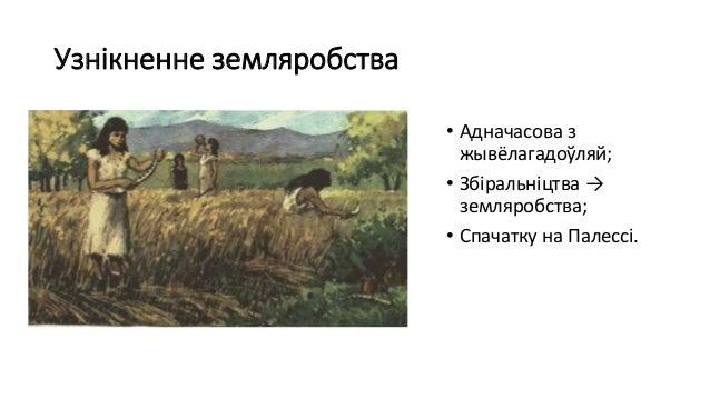 Узнікненне земляробства • Адначасова з жывёлагадоўляй; • Збіральніцтва → земляробства; • Спачатку на Палессі.