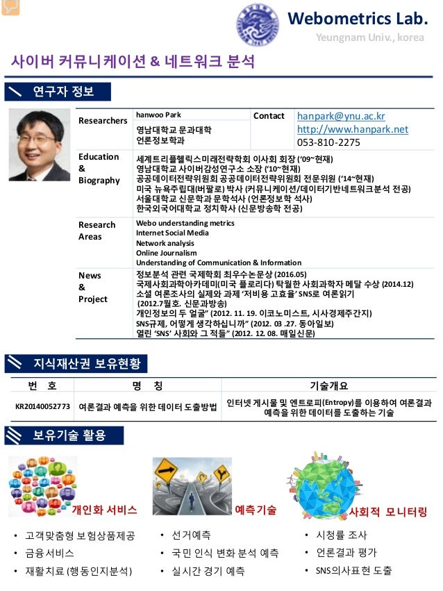 Researchers hanwoo Park Contact hanpark@ynu.ac.kr http://www.hanpark.net 053-810-2275 영남대학교 문과대학 언론정보학과 Education & Biogra...