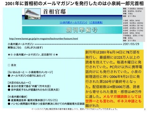 2001年に首相初のメールマガジンを発行したのは小泉純一郎元首相 1イーンスパイア(株) 横田秀珠の著作権を尊重しつつ、是非ノウハウはシェアして行きましょう。 創刊号は2001年6月14日に78万部を 発行し、最盛期には225万人以上の 読者を...