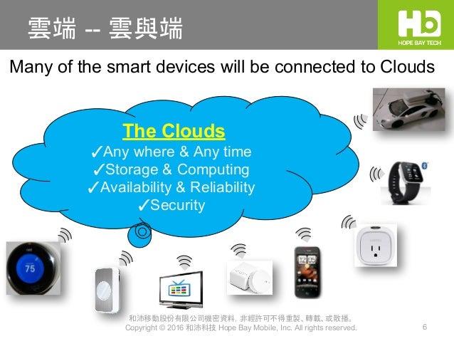 和沛移動股份有限公司機密資料,非經許可不得重製、轉載、或散播。 Copyright © 2016 和沛科技 Hope Bay Mobile, Inc. All rights reserved. 6 雲端 -- 雲與端 The Clouds ✓A...