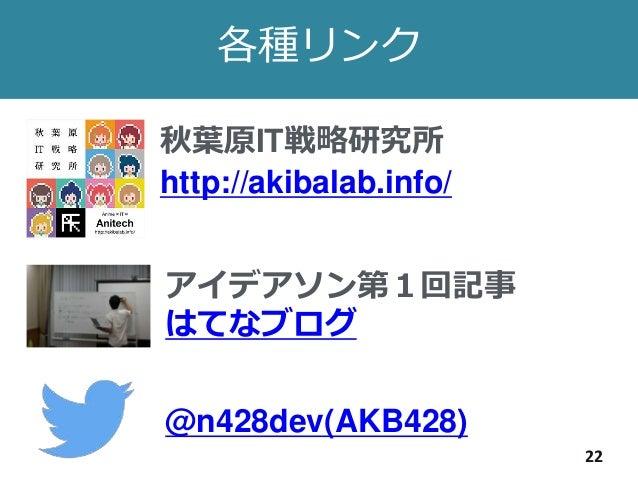 22 各種リンク 秋葉原IT戦略研究所 http://akibalab.info/ アイデアソン第1回記事 はてなブログ @n428dev(AKB428)