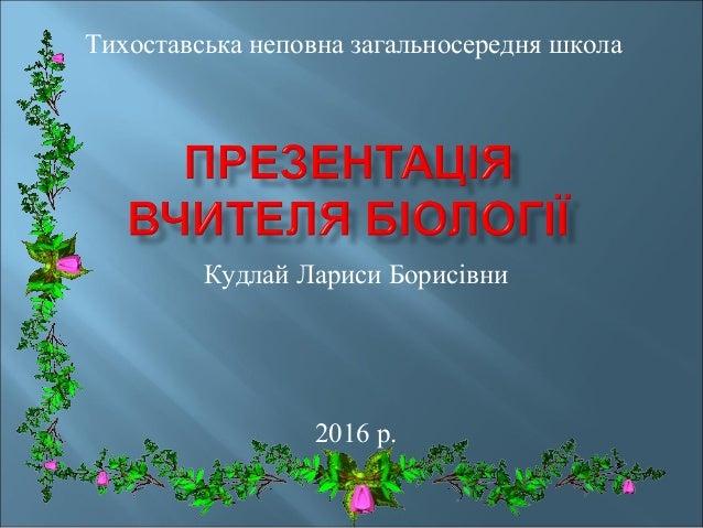 Кудлай Лариси Борисівни 2016 р. Тихоставська неповна загальносередня школа