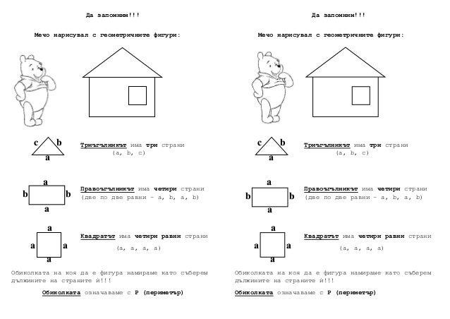 Да запомним!!! Meчо нарисувал с геометричните фигури: Tриъгълникът има три страни (а, b, c) Правоъгълникът има четири стра...