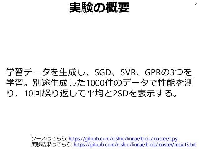実験の概要 学習データを生成し、SGD、SVR、GPRの3つを 学習。別途生成した1000件のデータで性能を測 り、10回繰り返して平均と2SDを表示する。 5 ソースはこちら: https://github.com/nishio/linear...