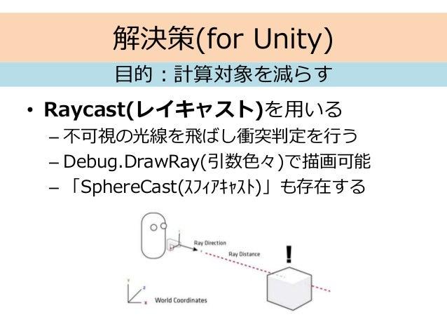 解決策(for Unity) • Raycast(レイキャスト)を用いる – 不可視の光線を飛ばし衝突判定を行う – Debug.DrawRay(引数色々)で描画可能 – 「SphereCast(スフィアキャスト)」も存在する 目的:計算対象を...