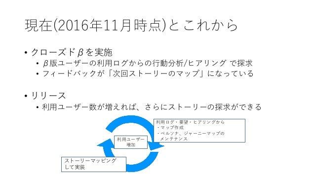 現在(2016年11月時点)とこれから • クローズドβを実施 • β版ユーザーの利用ログからの行動分析/ヒアリング で探求 • フィードバックが「次回ストーリーのマップ」になっている • リリース • 利用ユーザー数が増えれば、さらにストーリ...
