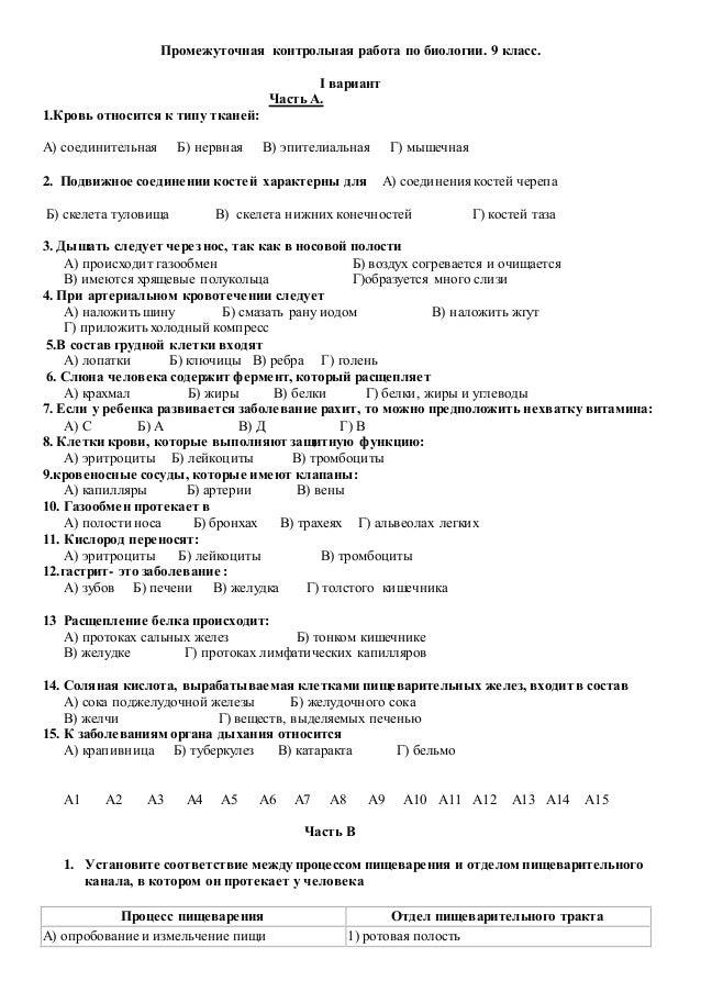 па биология Промежуточная контрольная работа по биологии 9 класс i вариант Часть А 1