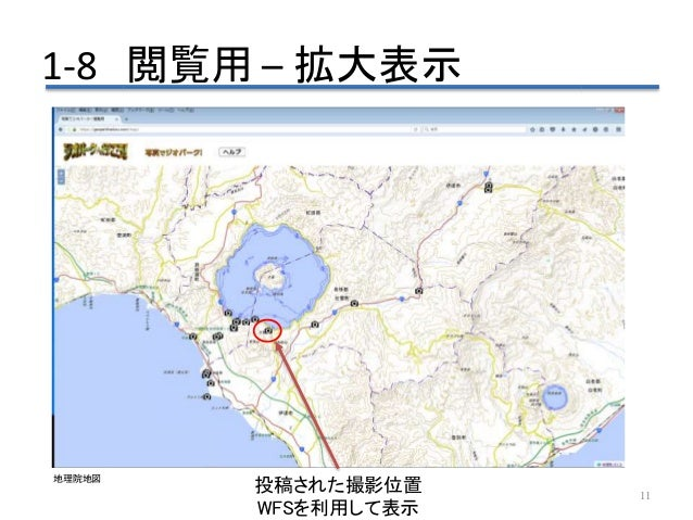 1-8 閲覧用 – 拡大表示 11 投稿された撮影位置 WFSを利用して表示 地理院地図