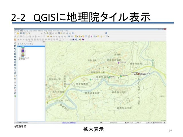 2-2 QGISに地理院タイル表示 19拡大表示 地理院地図