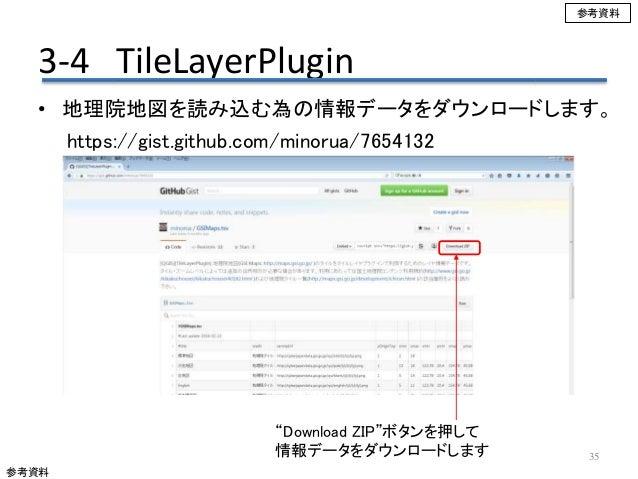 "3-4 TileLayerPlugin 35 • 地理院地図を読み込む為の情報データをダウンロードします。 https://gist.github.com/minorua/7654132 ""Download ZIP""ボタンを押して 情報データを..."