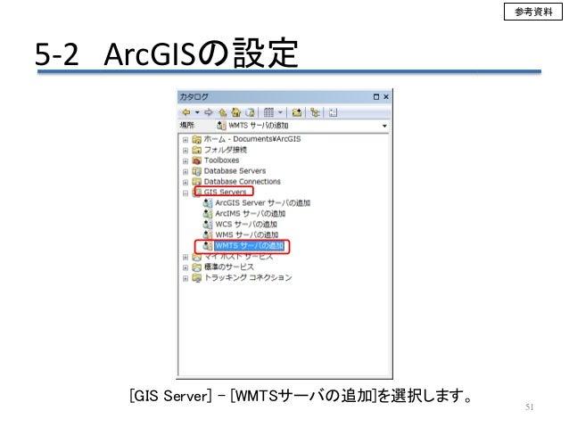 51 [GIS Server] – [WMTSサーバの追加]を選択します。 5-2 ArcGISの設定 参考資料