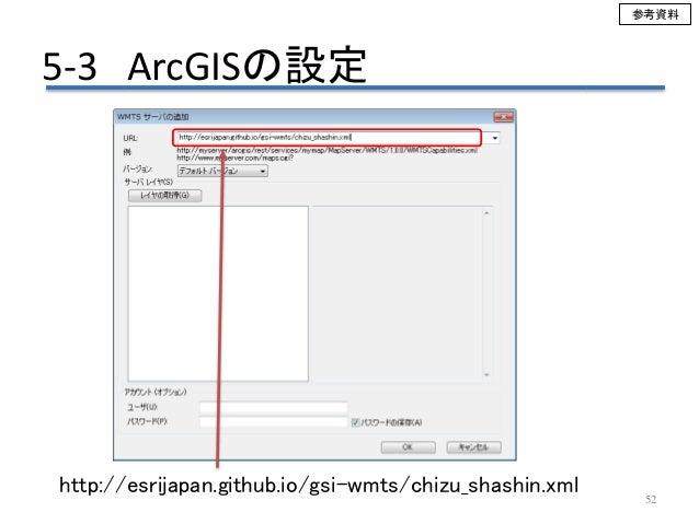 52 http://esrijapan.github.io/gsi-wmts/chizu_shashin.xml 5-3 ArcGISの設定 参考資料
