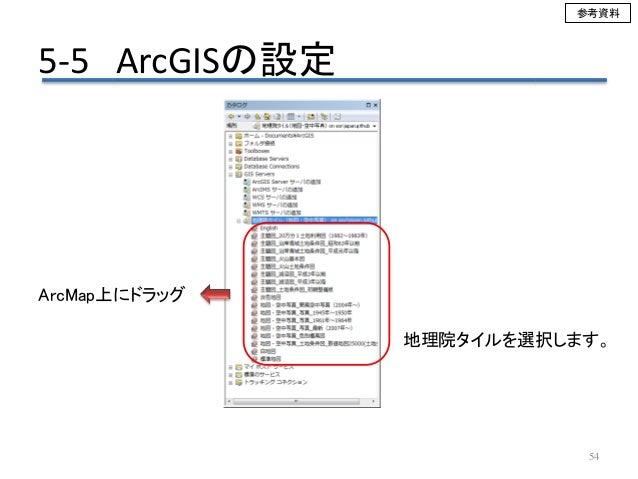 5-5 ArcGISの設定 54 地理院タイルを選択します。 ArcMap上にドラッグ 参考資料