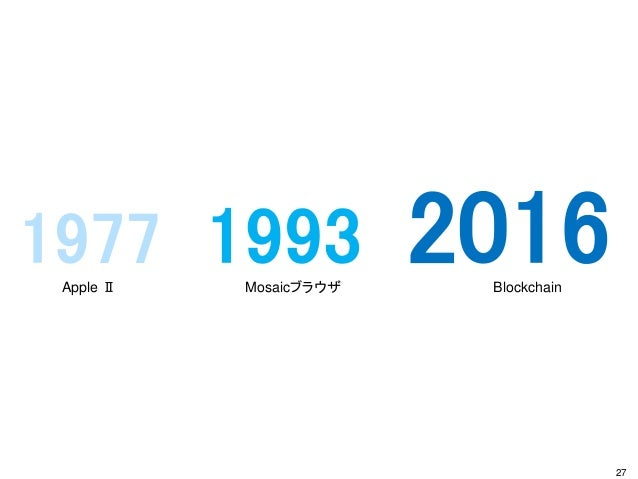 1977 1993 2016 27 Apple Ⅱ Mosaicブラウザ Blockchain