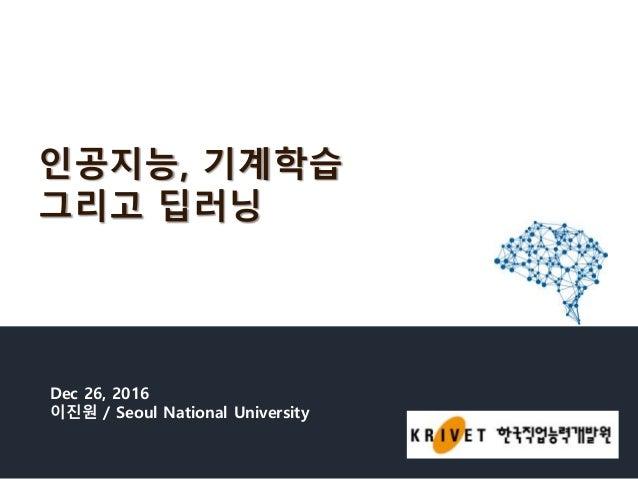 인공지능, 기계학습 그리고 딥러닝 Dec 26, 2016 이진원 / Seoul National University