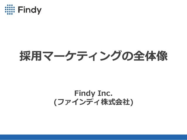 Copyright(C) 2013RareJob Inc. All rights reserved. 採⽤マーケティングの全体像 Findy Inc. (ファインディ株式会社)