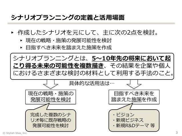 シナリオプランニング研修(株式会社スタイリッシュ・アイデア) Slide 3