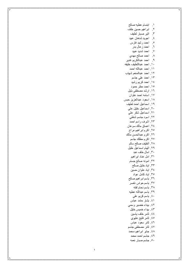 1 1.صال عطيه ابتسامح 2.خلف حسين ابراهيم 3.لطيف صبار اثير 4.عبيد شدهان اجويد 5.فارس رشيد احم...