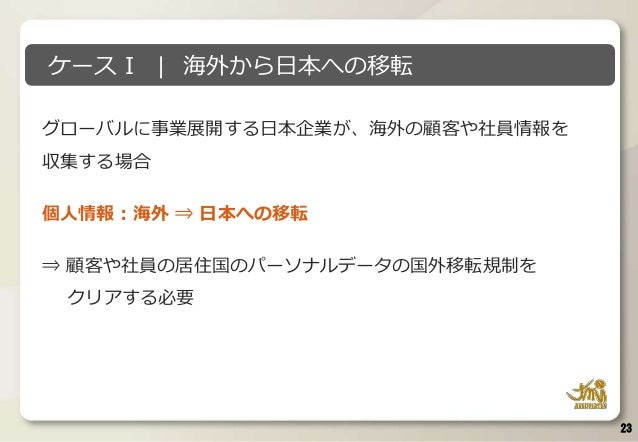 グローバルに事業展開する日本企業が、海外の顧客や社員情報を 収集する場合 個人情報:海外 ⇒ 日本への移転 ⇒ 顧客や社員の居住国のパーソナルデータの国外移転規制を クリアする必要 23 ケースⅠ   海外から日本への移転