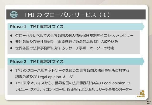 Phase 1 TMI 東京オフィス  グローバルレベルでの世界各国の個人情報保護規制をイニシャル・レビュー  要注意国及び要注意規制(事業遂行に致命的な規制)の絞り込み  世界各国の法律事務所に対するリサーチ事項、オーダーの特定 Pha...