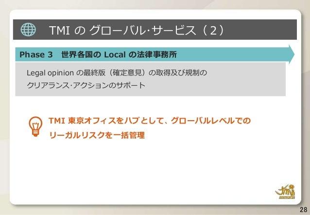 28 Phase 3 世界各国の Local の法律事務所 Legal opinion の最終版(確定意見)の取得及び規制の クリアランス・アクションのサポート TMI 東京オフィスをハブとして、グローバルレベルでの リーガルリスクを一括管理 ...