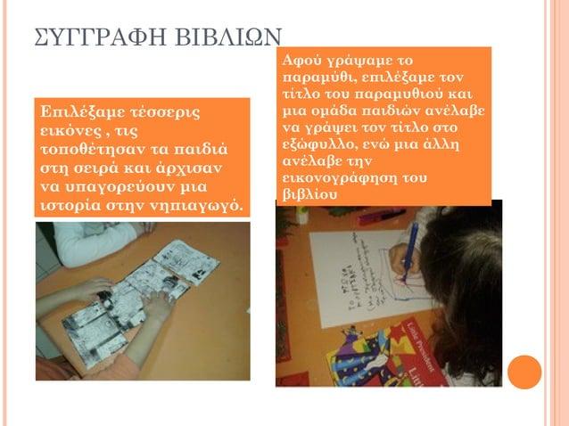 ΣΥΓΓΡΑΦΗ ΒΙΒΛΙΩΝ Επιλέξαμε τέσσερις εικόνες , τις τοποθέτησαν τα παιδιά στη σειρά και άρχισαν να υπαγορεύουν μια ιστορία σ...