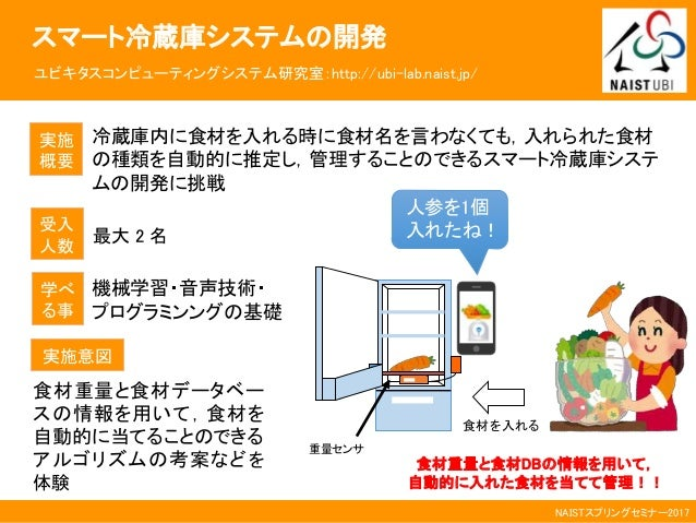 NAISTスプリングセミナー2017 スマート冷蔵庫システムの開発 ユビキタスコンピューティングシステム研究室:http://ubi-lab.naist.jp/ 実施 概要 冷蔵庫内に食材を入れる時に食材名を言わなくても,入れられた食材 の種類...