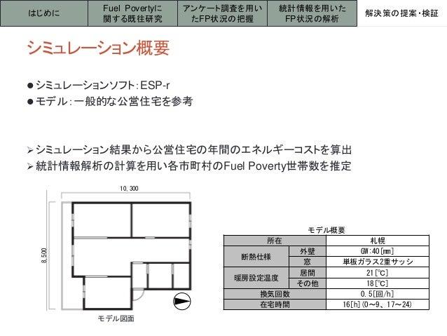 シミュレーション概要  シミュレーションソフト:ESP-r  モデル:一般的な公営住宅を参考 シミュレーション結果から公営住宅の年間のエネルギーコストを算出 統計情報解析の計算を用い各市町村のFuel Poverty世帯数を推定 はじめ...